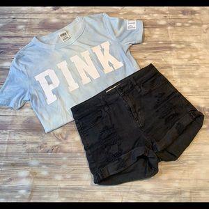 Sky blue pink crop top